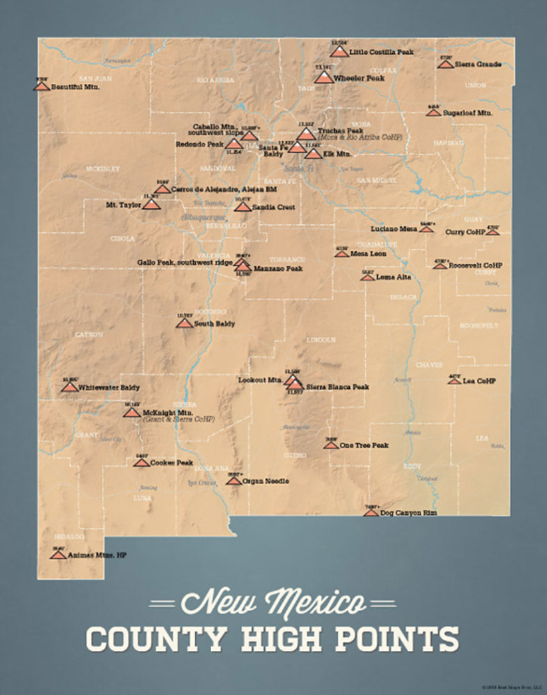 New Mexico County High Points Map 11x14 Print - camel & slate blue