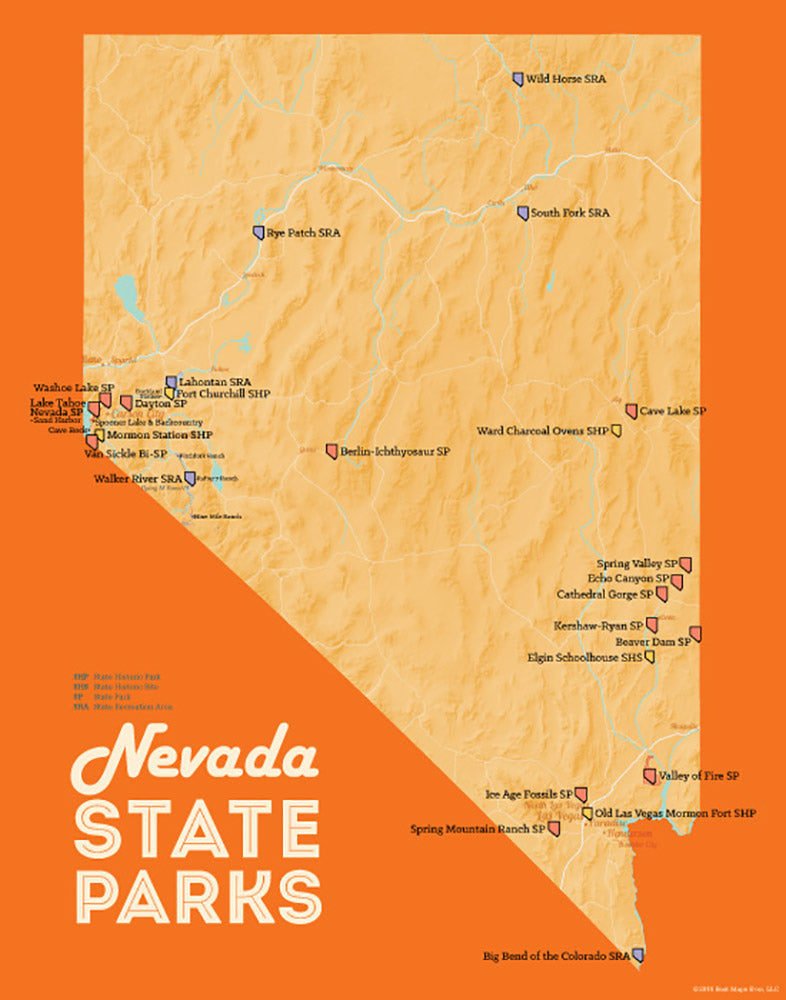 Nevada State Parks Map 11x14 Print