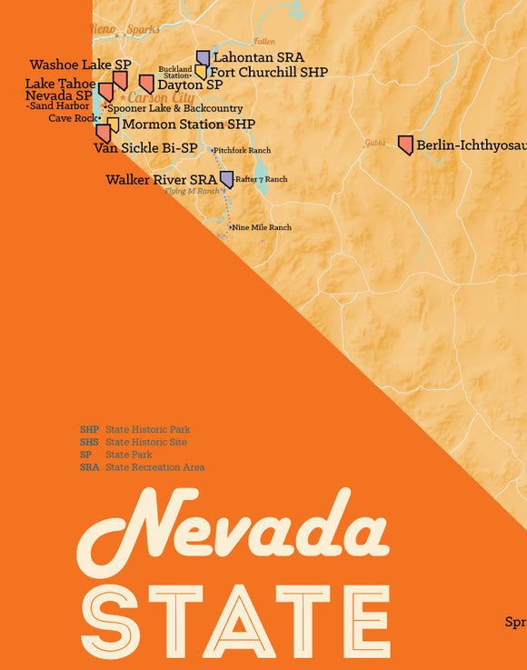 Nevada State Parks Map 11x14 Print - cream & orange