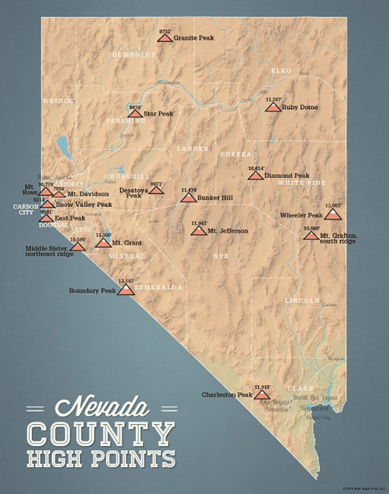 Nevada County High Points map print - camel & slate blue