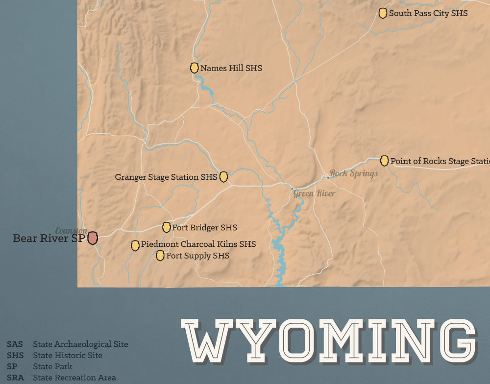 Wyoming State Parks map print - camel & slate blue