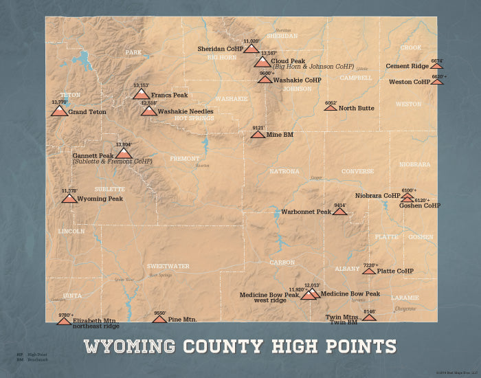 Wyoming County High Points Highpoints map print - camel & slate blue