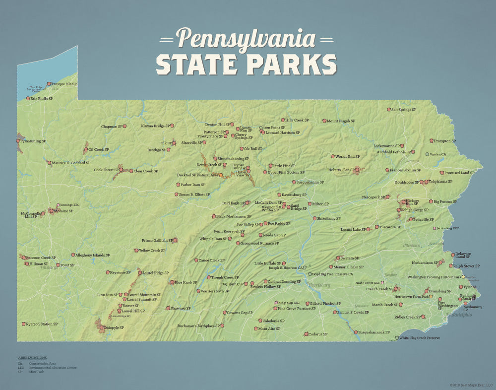 Pennsylvania State Parks Map Print - natural earth