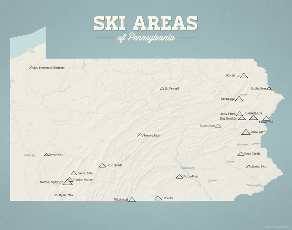 Pennsylvania Ski Areas & Resorts Map - beige & opal blue