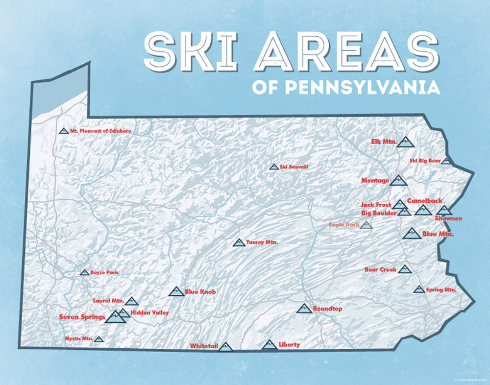 Pennsylvania Ski Areas & Resorts Map - white & light blue