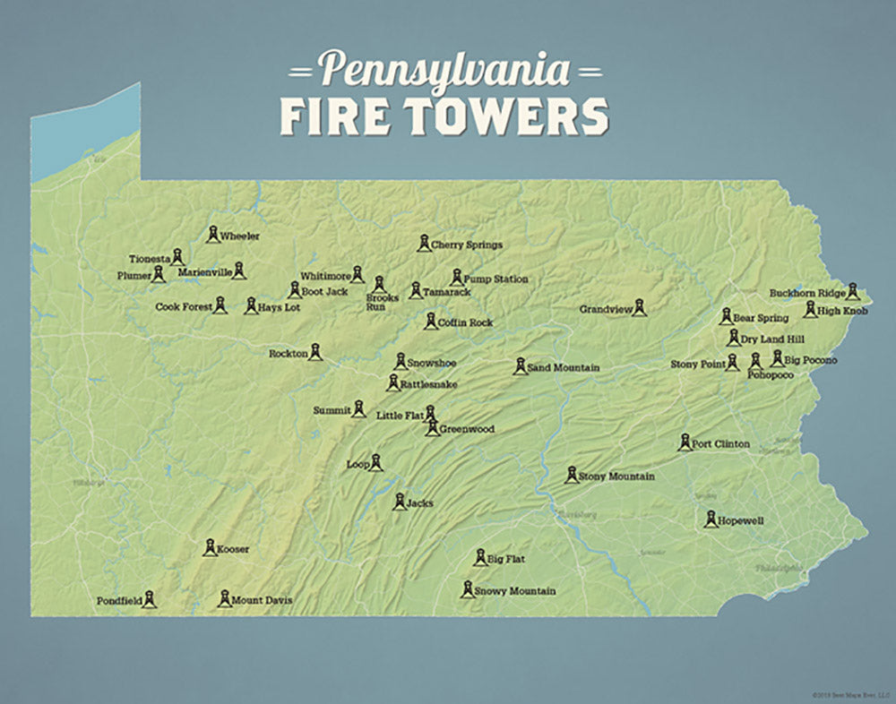 Pennsylvania Fire Towers Lookouts Map - natural earth
