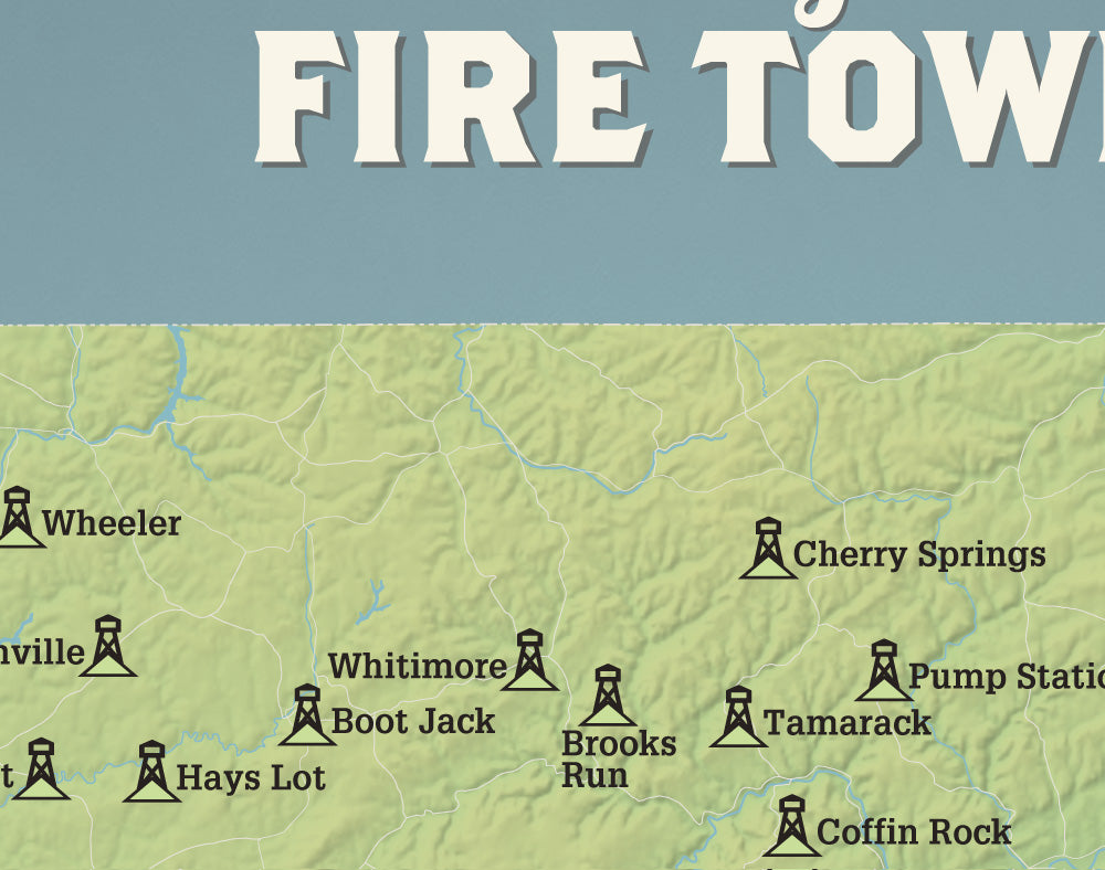 Pennsylvania Fire Towers Map 11x14 Print
