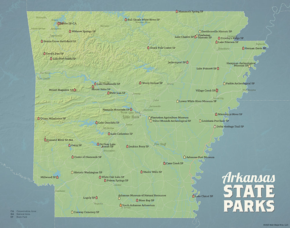 Arkansas State Parks Map Print - natural earth