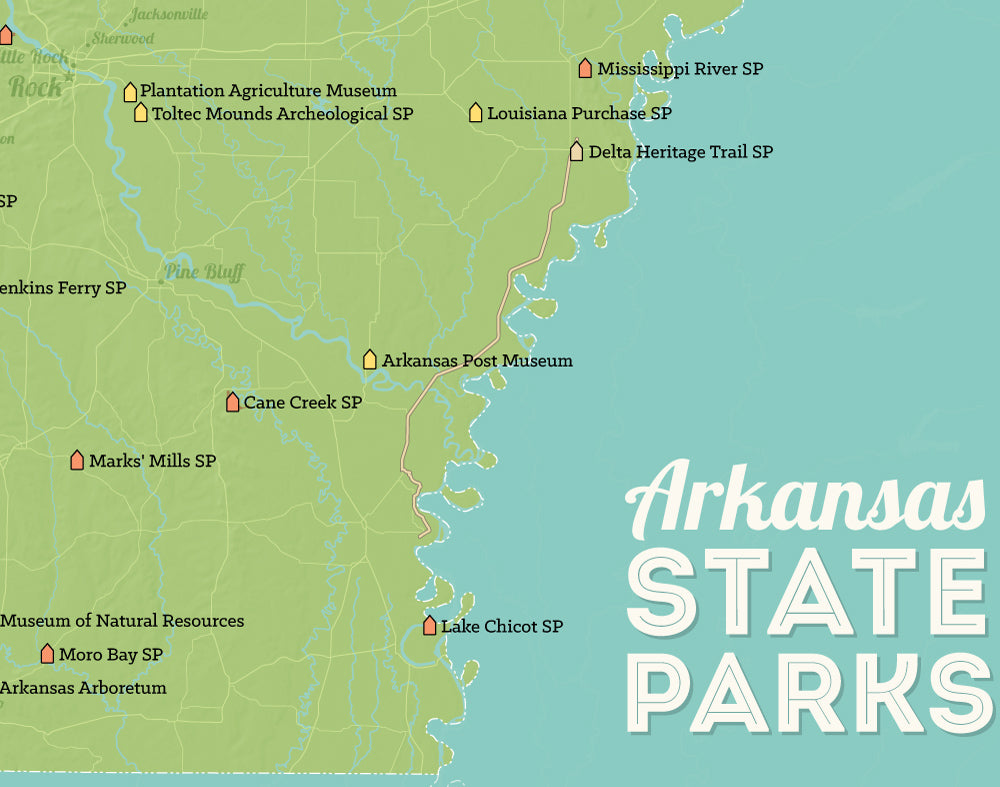 Arkansas State Parks Map Print - green & aqua