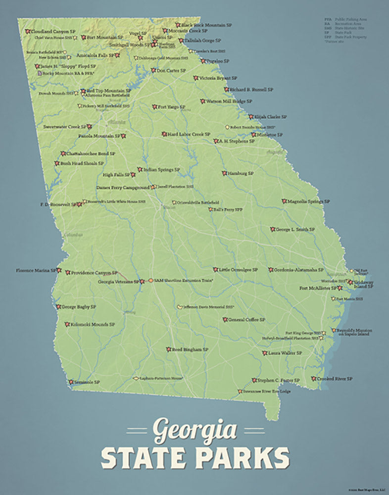 Georgia State Parks Map Print - natural earth