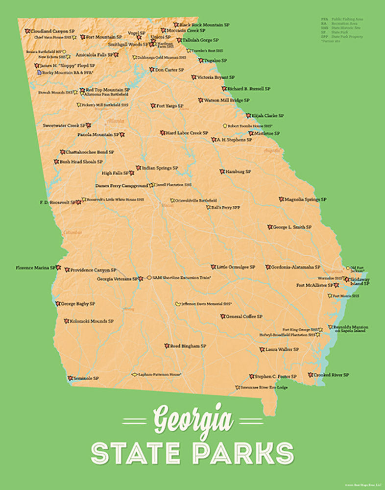 Georgia State Parks Map Print - peach & green