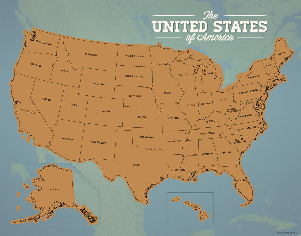 USA 50 States Scratch-Off Travel Checklist Map - natural earth