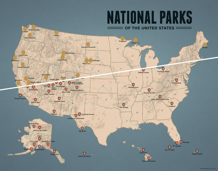 USA National Parks Scratch-Off Checklist Map - tan & slate blue