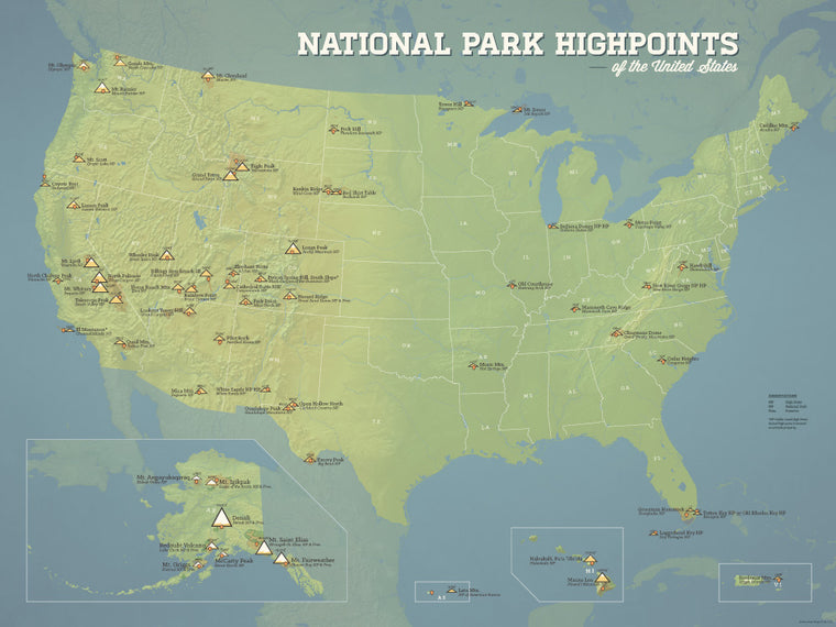USA National Park High Points Map Poster - natural earth