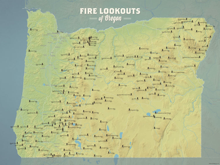 Oregon Fire Towers Lookouts map poster - natural earth