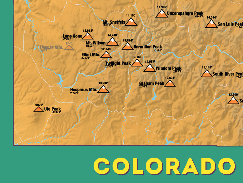 Colorado Prominent 2000' Prominence Peaks Map Poster - orange & teal