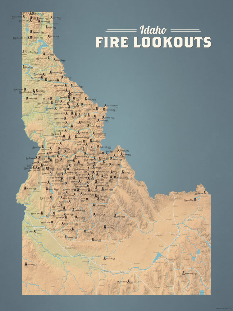Idaho Fire Towers Lookouts map poster - natural earth