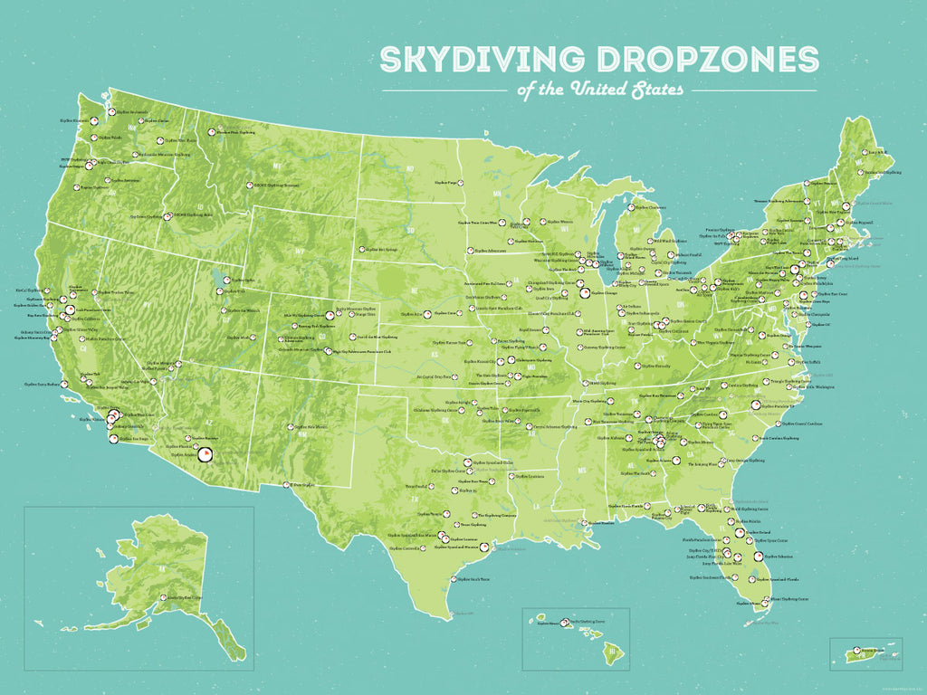 US Skydiving Dropzones Map Poster - green & aqua