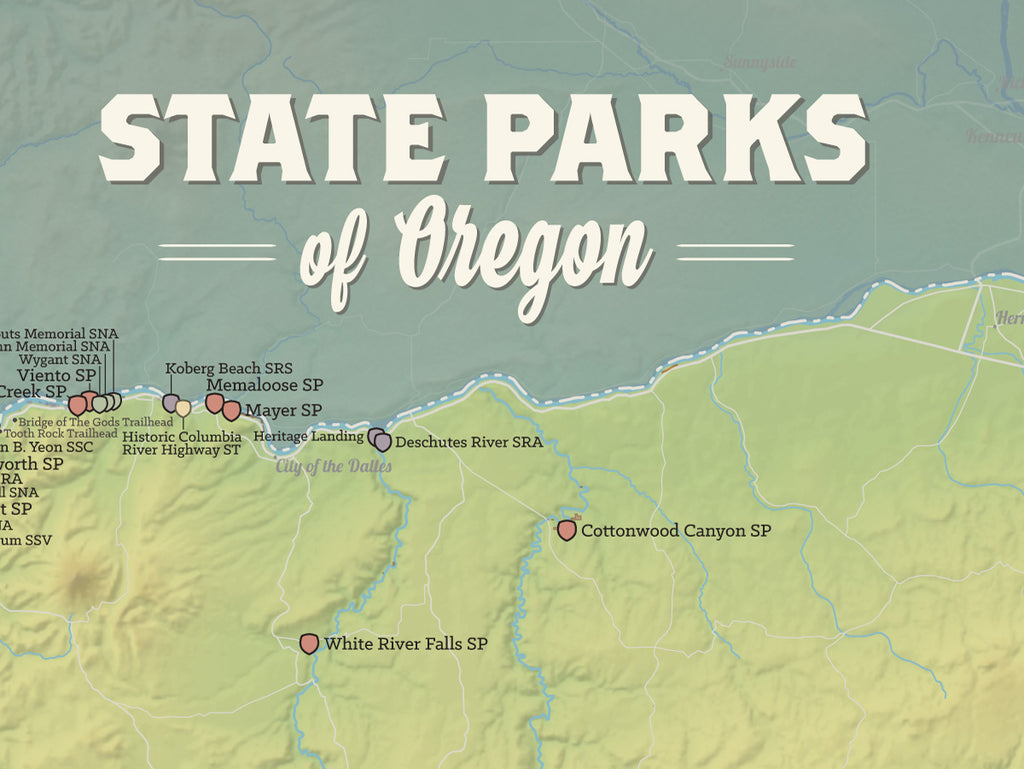 Oregon State Parks Map Poster - natural earth