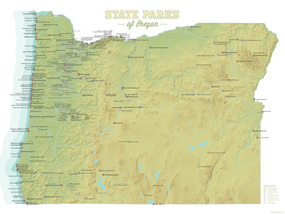 Oregon State Parks Map Oregon State Parks Map 18x24 Poster   Best Maps Ever