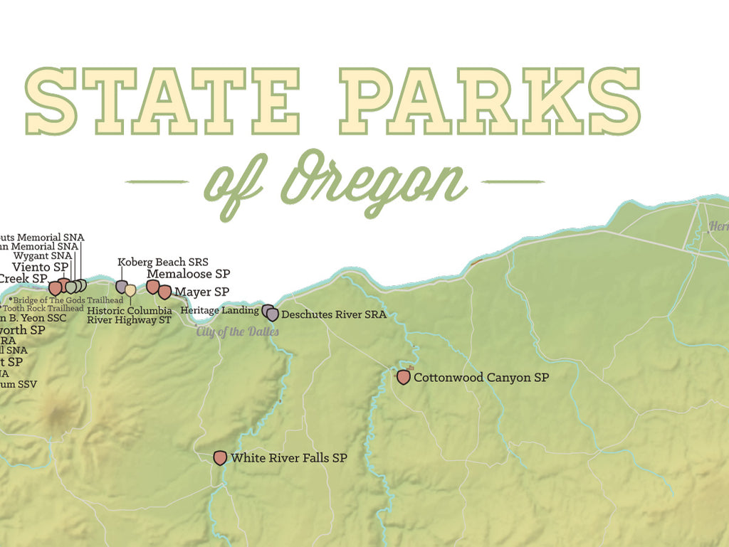 Oregon State Parks Map Poster - sage & white