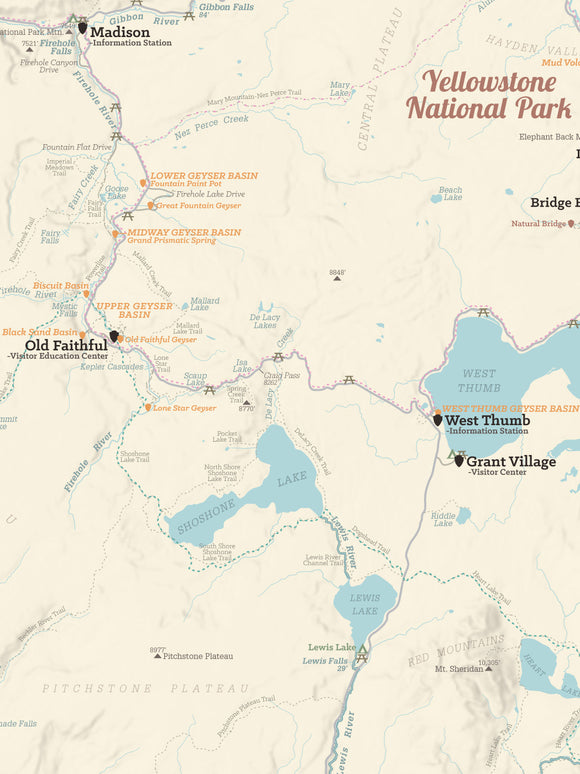 Yellowstone National Park Hiking Trail Map Poster - tan