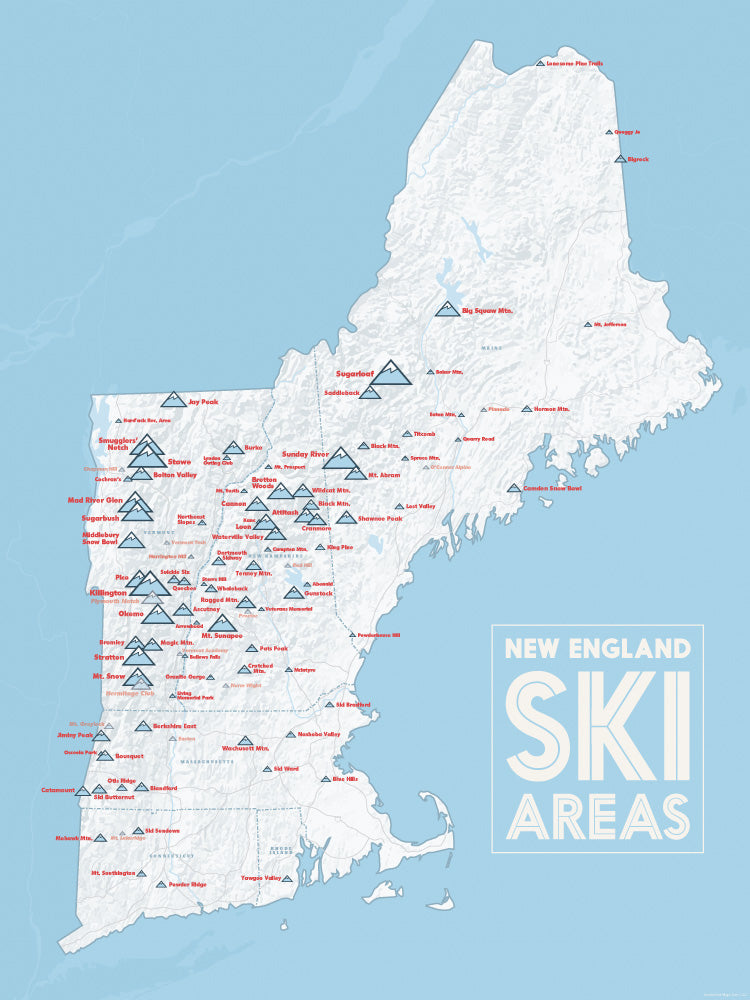 New England Ski Areas Resorts Map Poster - white & light blue