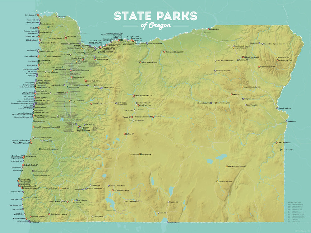 Oregon State Parks Map Poster - green & aqua