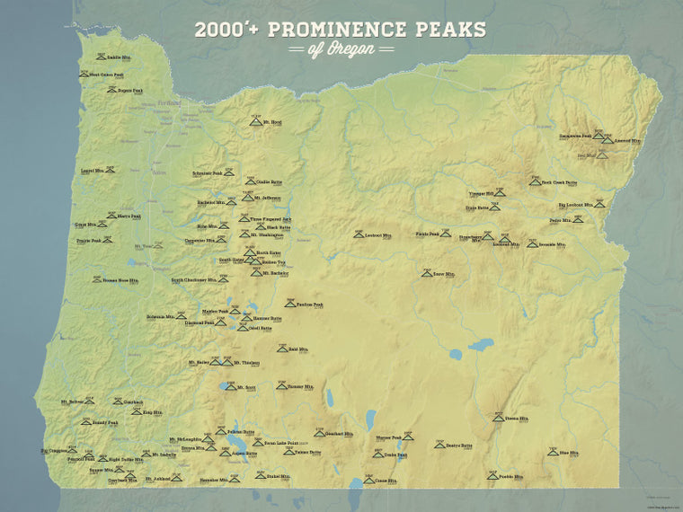 Oregon 2000' Prominence Peaks Map Poster - natural earth