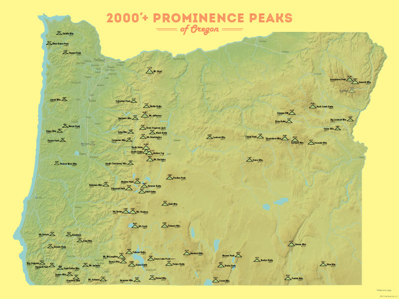 Oregon 2000' Prominence Peaks Map Poster - green & yellow