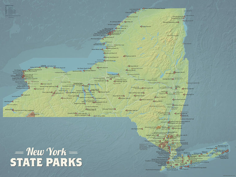 New York State Parks Map Poster - natural earth