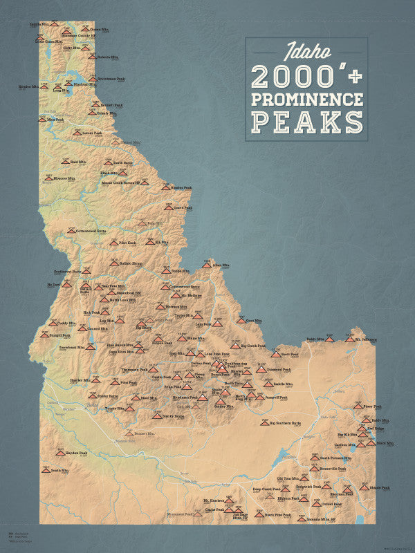 Idaho 2000' Prominence Peaks Map Poster - natural earth