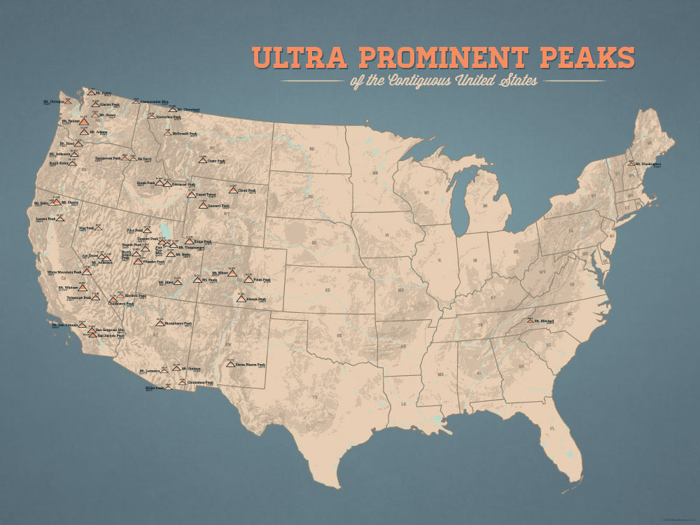 Ultra Prominent Peaks Map Poster - Tan & Slate Blue