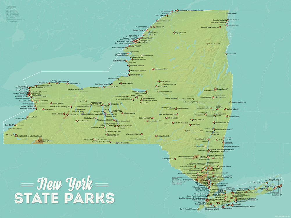 New York State Parks Map Poster - green & aqua