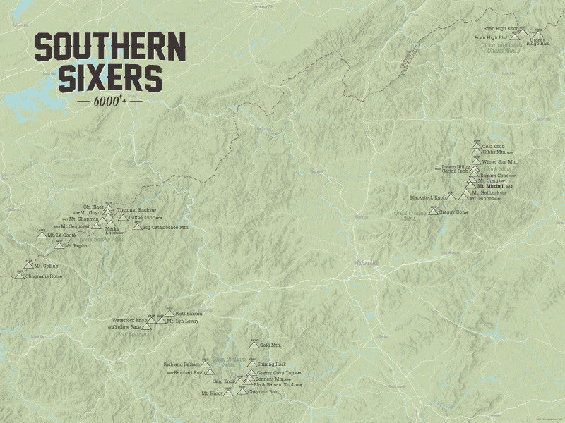 North Carolina 'Southern Sixers' / 'South Beyond 6000' Map Poster - sage