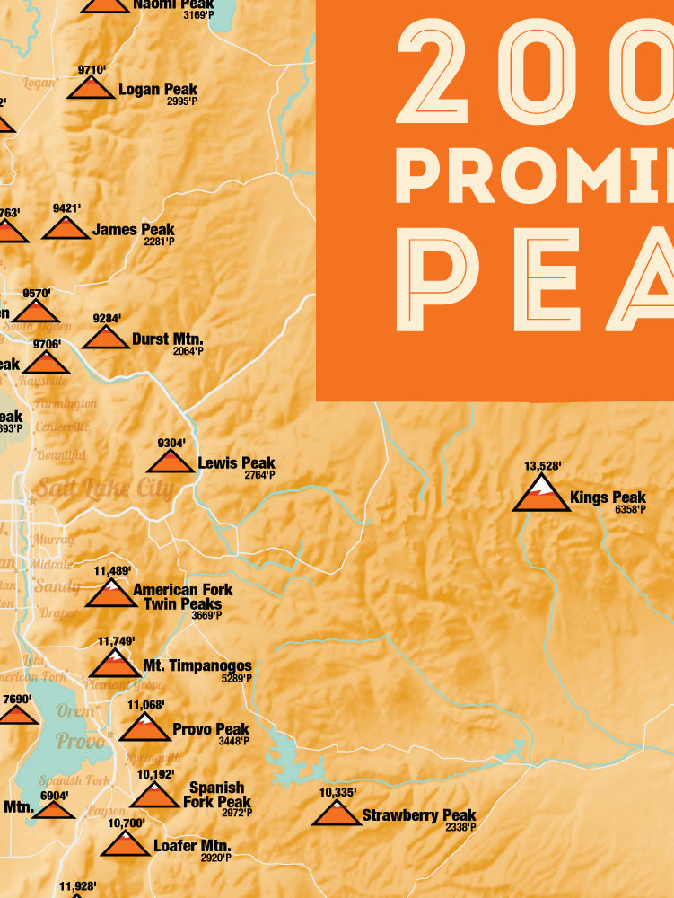Utah 2000' Prominence Peaks Map Poster - cream & orange