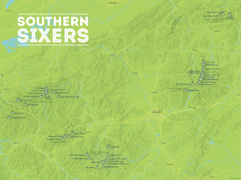 North Carolina 'Southern Sixers' / 'South Beyond 6000' Map Poster - bright green