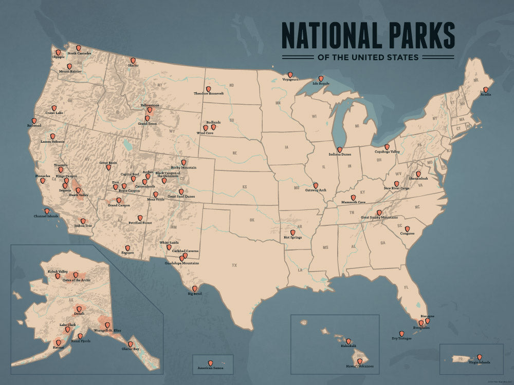 US National Parks Map Poster - tan & slate blue