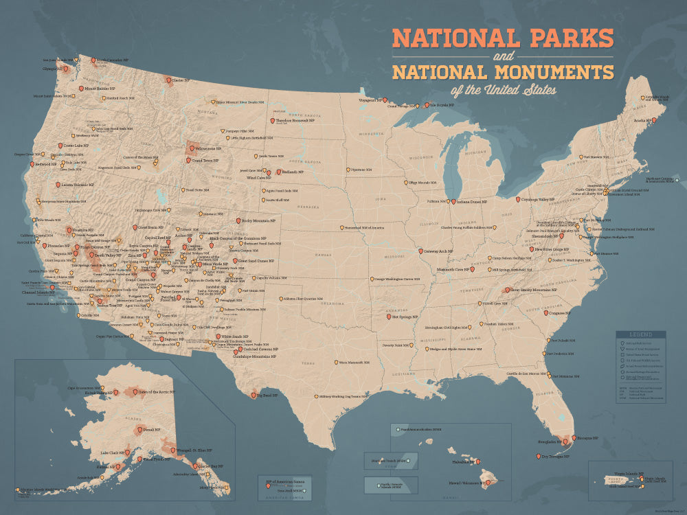 USA National Parks & National Monuments Map Poster - tan & slate blue
