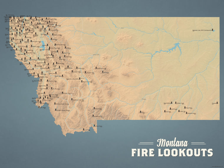 Montana Fire Towers Lookouts map poster - natural earth