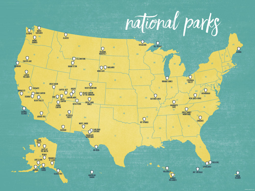 US National Parks Map Poster - Yellow & Teal