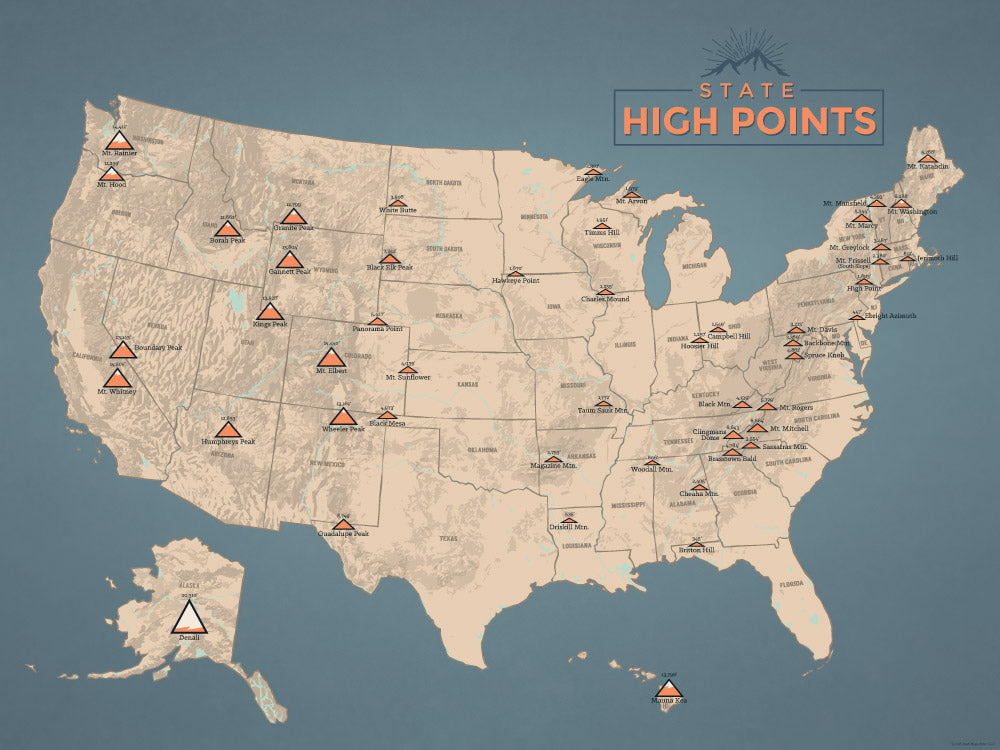 Map Of Us Highpoints State Highpoints Map 18x24 Poster   Best Maps Ever
