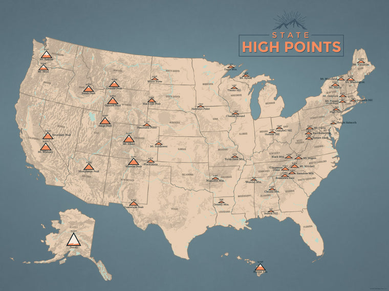 State High Points Highpoints Map Poster - tan & slate blue
