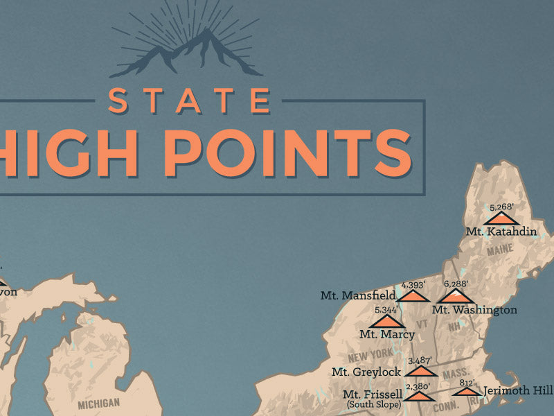 State High Points Map Poster - tan & slate blue
