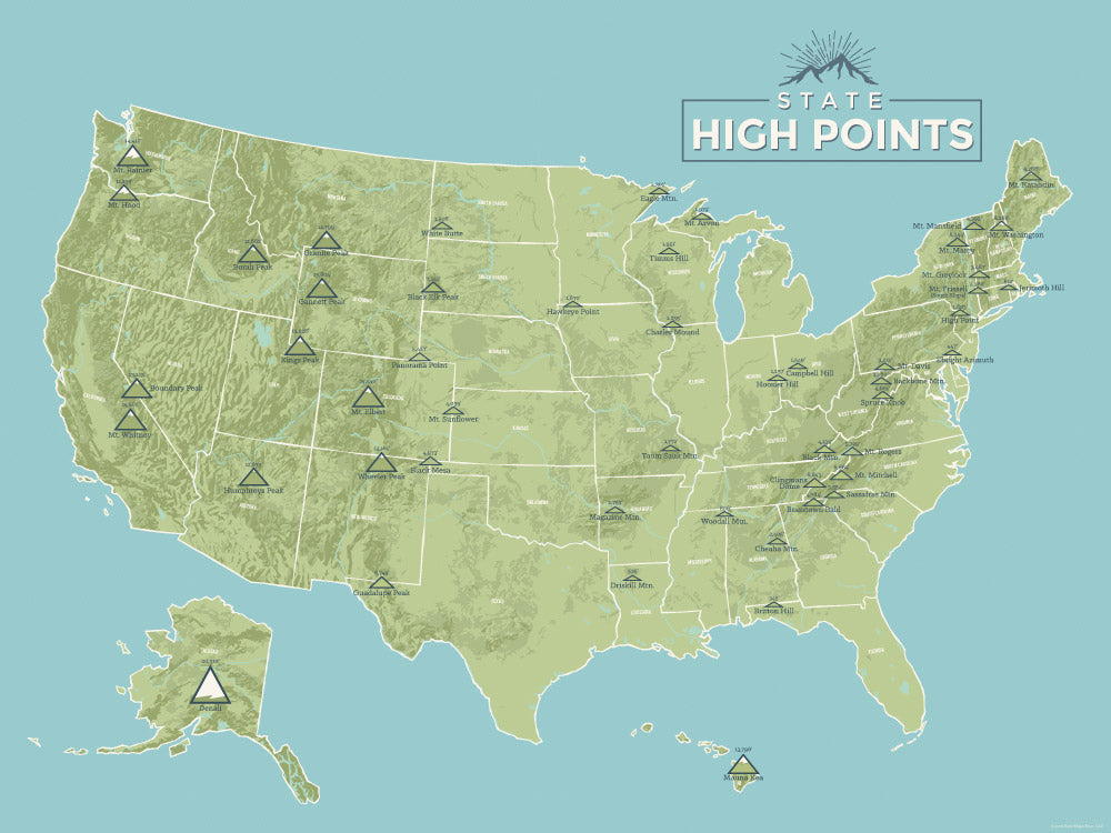 State High Points Highpoints Map Poster - green & aqua