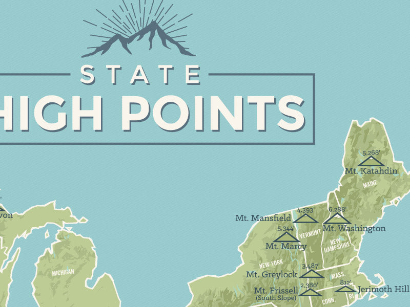 State High Points Map Poster - green & aqua