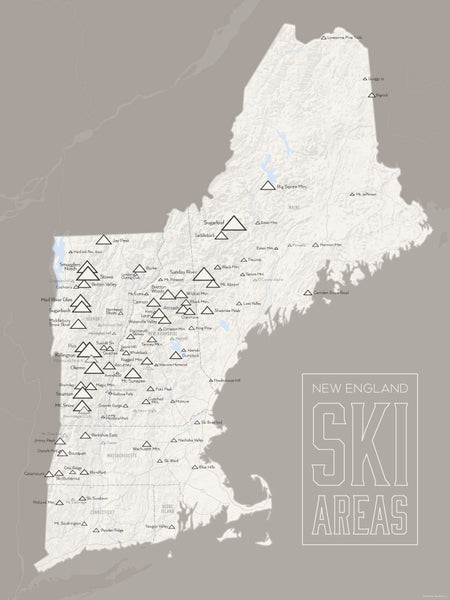 New England Ski Resorts Map Poster - White & Gray