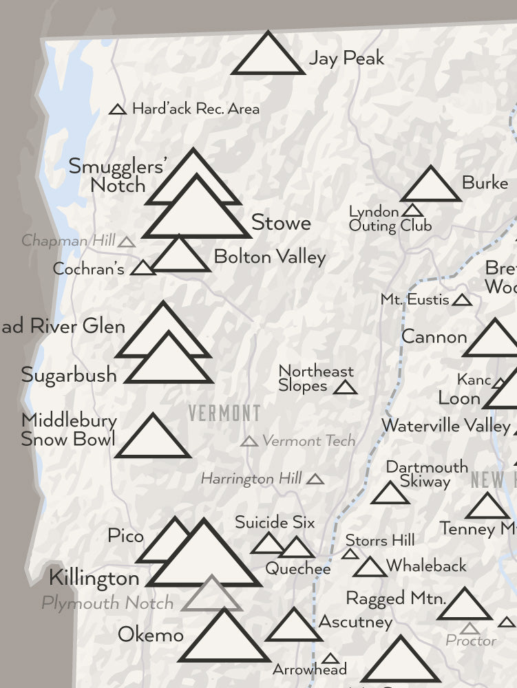 New England Ski Areas Resorts Map Poster - white & gray