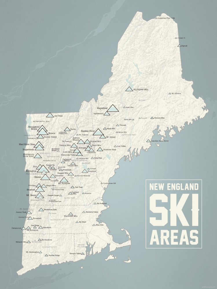 New England Ski Areas Resorts Map Poster - beige & opal blue