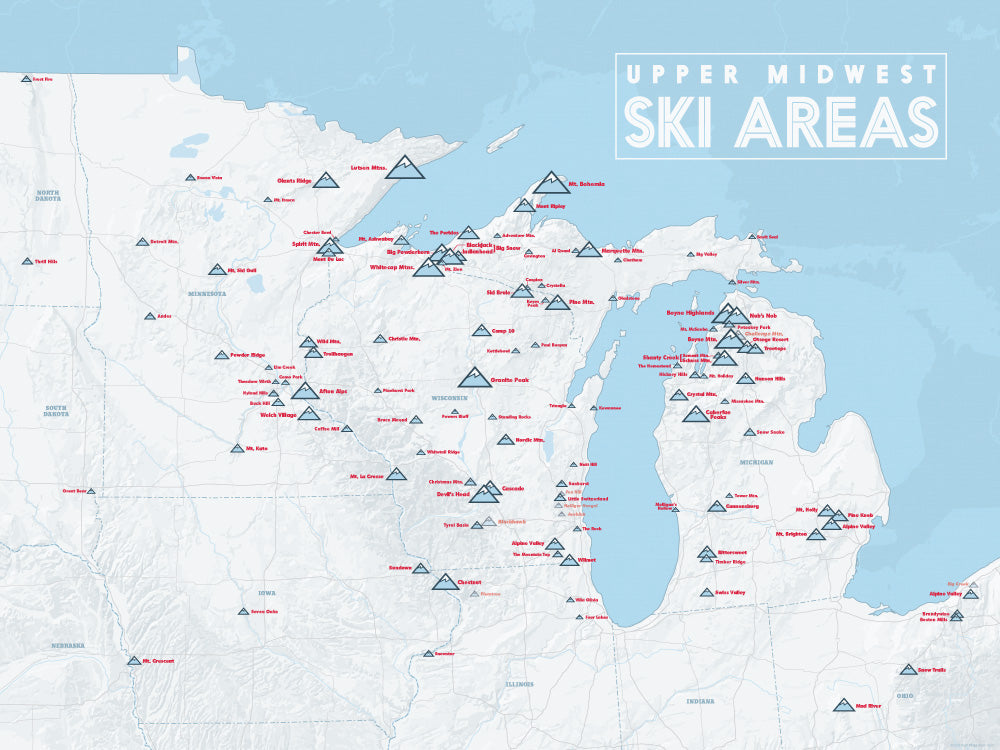 Upper Midwest Ski Areas Resorts Map Poster - white & light blue